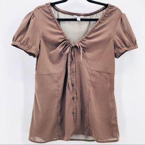 Apt Women's Blouse. Drawstring neckline (1-10003)